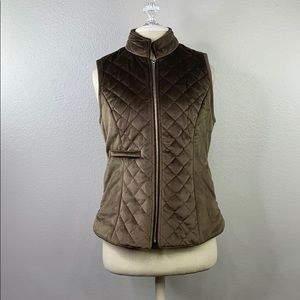 Entro brown quilted vest, size medium